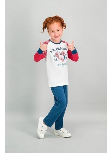 U.S. Polo Assn. U.S. Polo Assn Lisanslı Krem Kız Çocuk Pijama Takımı Krem